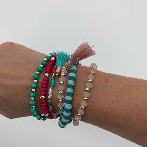 Women's 6 Layer Bead Stretch Tassel Bracelets NEW